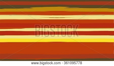 Orange, Brown Vector Watercolor Sailor Stripes Drawn Seamless Summer Pattern. Horizontal Brushstroke
