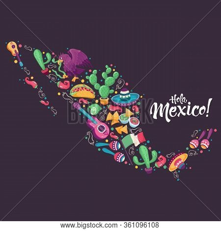 Mexico Festival Culture Vector Art. Mexican Map With Eagle, Sombrero, Guitar, Cactus And Jalapeno. C