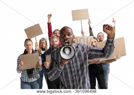 Emotional Multicultural Group Of People Screaming While Holding Blank Placards On White Background.