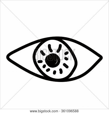 Human Eye In Hand Drawn Doodle Style Isolated On White Background. Vector Stock Outline Illustration