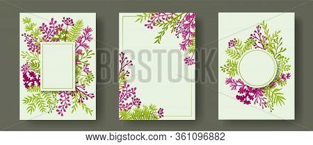 Simple Herb Twigs, Tree Branches, Leaves Floral Invitation Cards Set. Plants Borders Romantic Cards