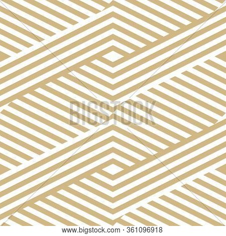 Golden Geometric Lines Seamless Pattern. Modern Vector Texture With Diagonal Stripes, Broken Lines,