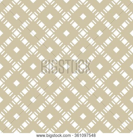 Golden Vector Seamless Pattern With Squares, Diamond Grid, Net, Lattice. Abstract Checkered Geometri
