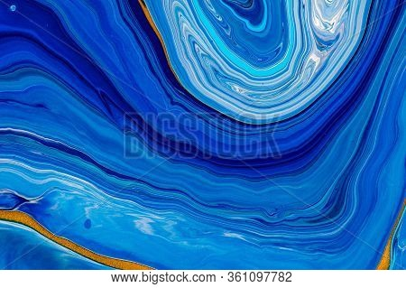 Fluid Art Texture. Abstract Backdrop With Swirling Paint Effect. Liquid Acrylic Artwork With Flows A