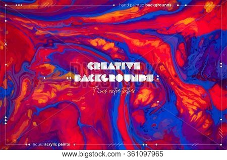 Fluid Art Texture. Abstract Vector Backdrop With Mixing Paint Effect. Liquid Acrylic Picture With Ch