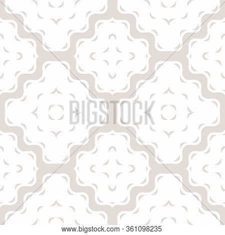 Vector Geometric Seamless Pattern With Wavy Shapes, Lines, Stripes, Smooth Grid. Simple Texture In L