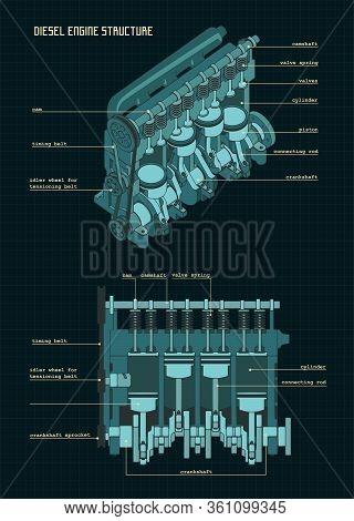 Diesel Engine Color Drawings