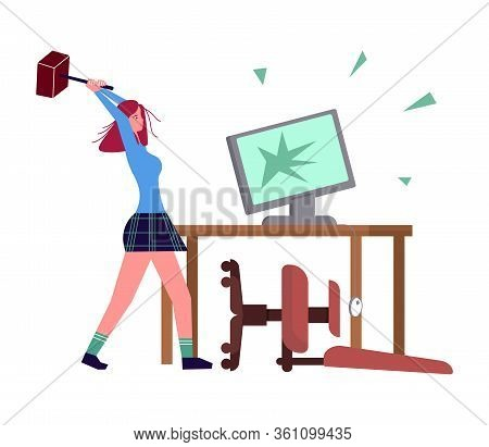 Woman With Burnout Syndrome Destroys His Workplace And Computer. Psychological Trauma And Mental Dis