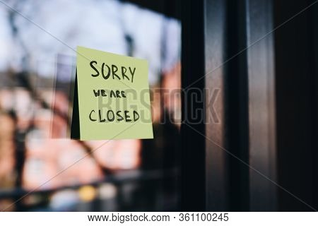 Shop, Cafe Or Other Small Business Closed Because Of The Quarantine Due To Coronavirus Covid 19 Or C