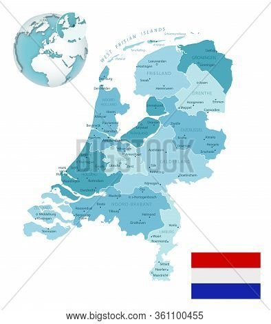 Netherlands Administrative Blue-green Map With Country Flag And Location On A Globe.