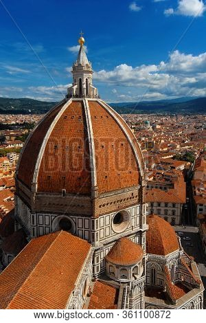 Aerial View Of Wonderful Dome Of Santa Maria Del Fiore (st Mary Of The Flower) In Florence With Tour