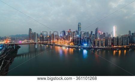 Dec 22, 2019 - Chongqing, China: Aerial Pano Drone Shot Of Hong Ya Dong Cave By Jialing River With Q