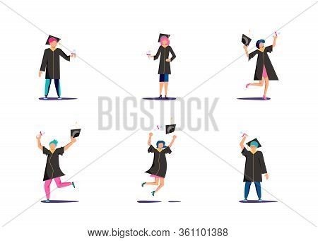Set Of Graduated Man And Woman In Academic Dresses Jumping For Joy And Throws Up The Square Academic