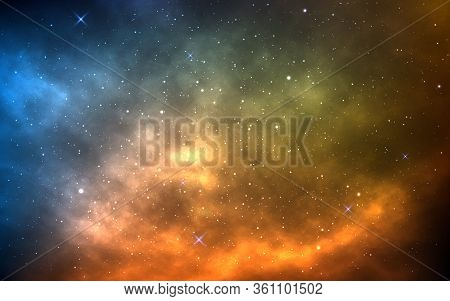 Space Background With Yellow And Blue Nebula. Realistic Universe. Bright Cosmic Backdrop With Milky