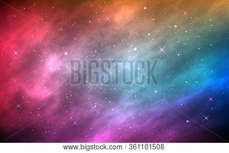Space Background. Color Nebula With Shining Stars And Stardust. Abstract Futuristic Backdrop. Realis