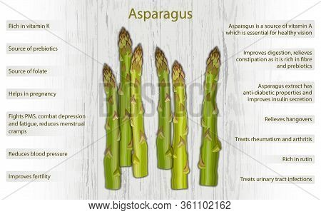 Asparagus Health Benefits Infographics On Wooden Background