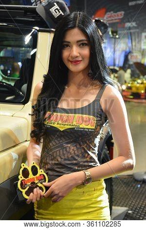 Pasay, Ph - Nov. 16: Tough Dog Suspension Female Model At Manila Auto Salon On November 16, 2019 In