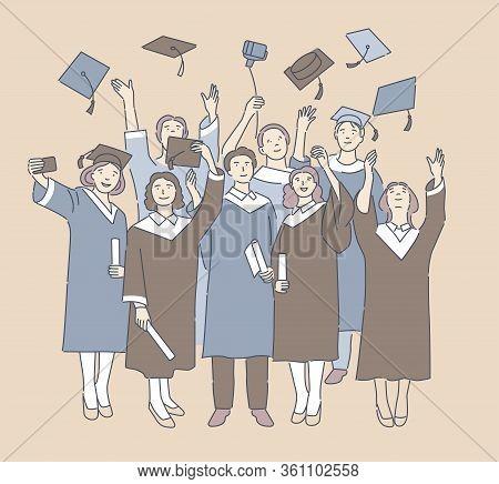 Cartoon People Celebrate Graduation From The University. Happy Graduates Throw Up Graduation Hats. M