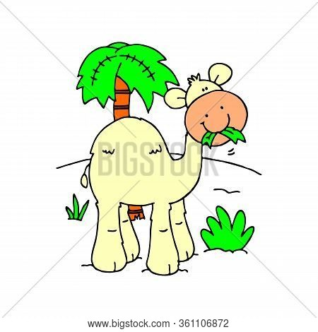 Cute Camel. A Cheerful Camel Is Smiling. Children's Animal Character.