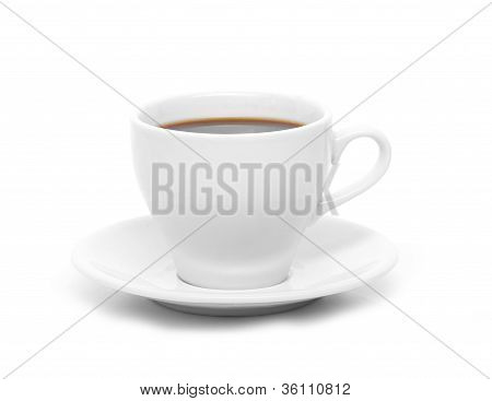 Perfect white coffee cup with steam