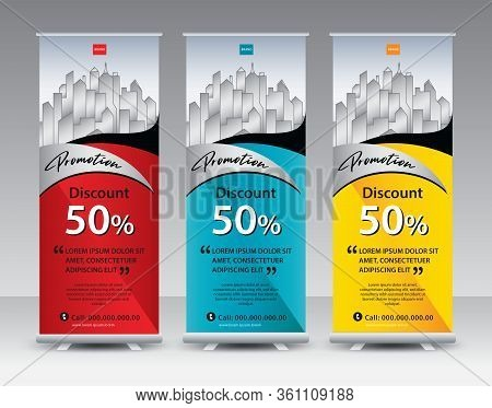 Roll Up Banner Stand Template Creative Design, Modern Exhibition Advertising, Flyer, Presentation, P