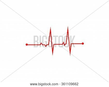 Illustration Of Heart Rhythm Or Heart Wave, Red Electrocardiogram Or Cardiogram Lines Of Heart On Wh