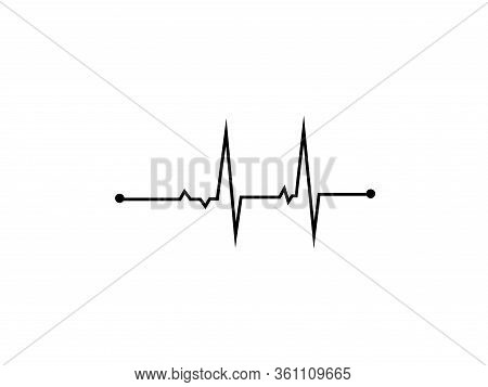 Illustration Of Heart Rhythm Or Heart Wave, Black Electrocardiogram Or Cardiogram Lines Of Heart On