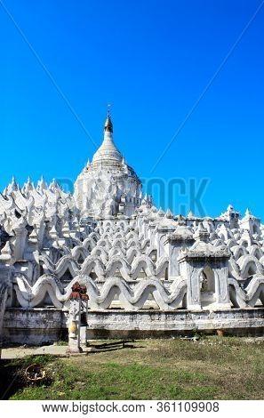 White pagoda of Hsinbyume (Myatheindan pagoda), Mingun, Mandalay, Myanmar (Burma)