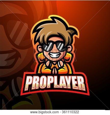 Vector Illustration Of Pro Player Mascot Esport Logo Design