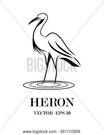 Line Art Vector Logo Of Heron That Is Standing.