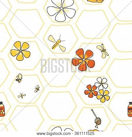 In The Honeycomb Bees And Flowers Seamless Pattern Vector On White Honey Comb Background. Surface De