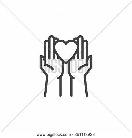 Hands Heart Charity Line Icon. Linear Style Sign For Mobile Concept And Web Design. Hands Holding He