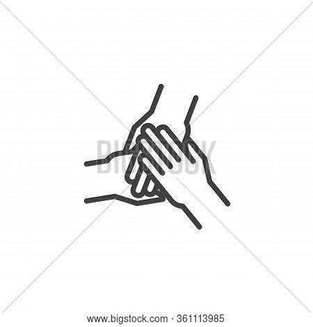 Three Hands Hold Together Line Icon. Linear Style Sign For Mobile Concept And Web Design. Solidarity