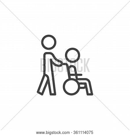 Disabled Person Care Line Icon. Linear Style Sign For Mobile Concept And Web Design. Volunteer And H