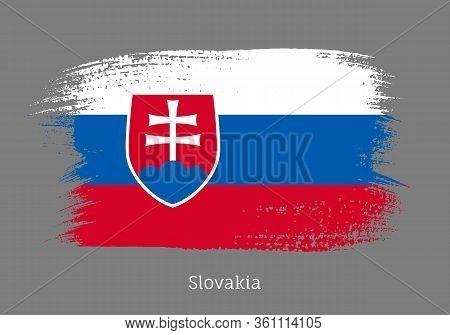 Slovakia Republic Official Flag In Shape Of Paintbrush Stroke. Slovak National Identity Symbol. Grun