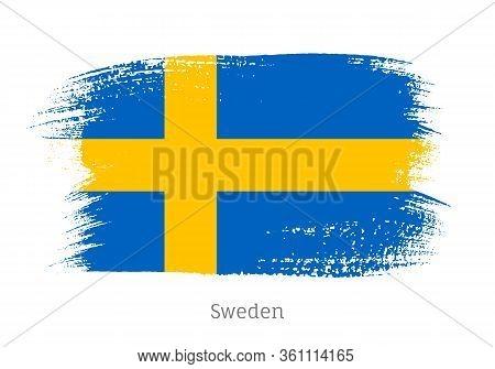 Sweden Official Flag In Shape Of Paintbrush Stroke. Swedish National Identity Symbol. Grunge Brush B