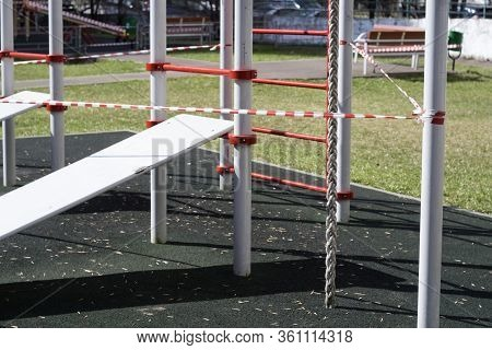 Outdoor Sport Playground Blocked With Warning Tape, City Scene