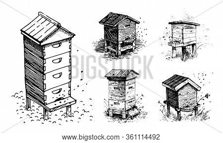 Bee Hives, Apiary. Set Of Vector Images.