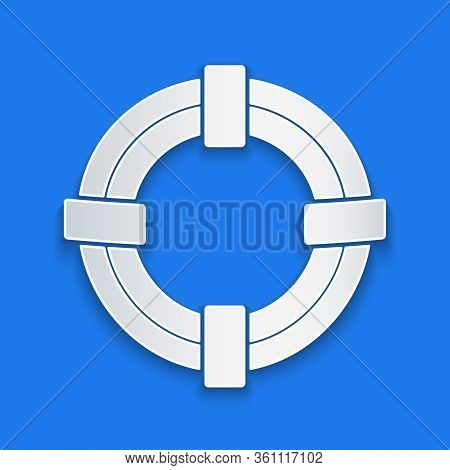 Paper Cut Lifebuoy Icon Isolated On Blue Background. Life Saving Floating Lifebuoy For Beach, Rescue