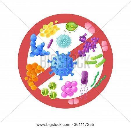 Microorganism, Bacteria, Virus Cell, Bacillus, Disease Bacterium And Fungi Cells.