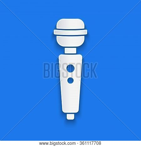 Paper Cut Dildo Vibrator For Sex Games Icon Isolated On Blue Background. Sex Toy For Adult. Vaginal