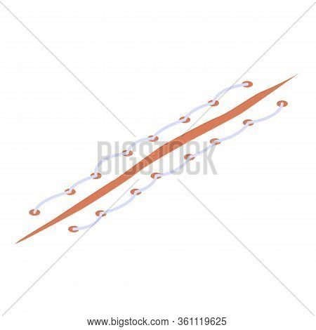 Laceration Suture Icon. Isometric Of Laceration Suture Vector Icon For Web Design Isolated On White