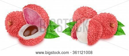 Set Of Compositions With Litchi Fruits Isolated On White Background. As Design Element.