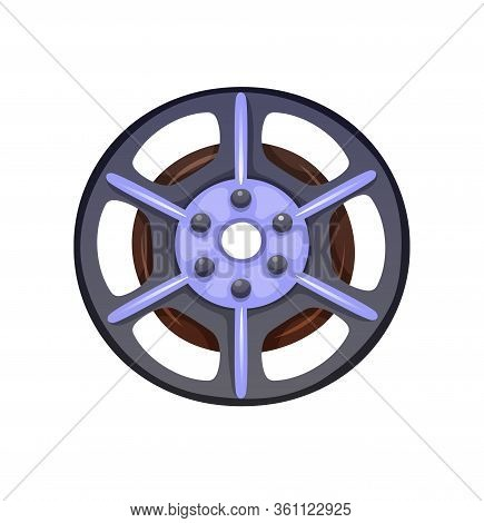 Vector Icon Of Tape Reel, Cartoon Style, Isolated