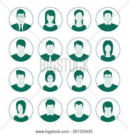 User Account Avatar. User Portrait  Icon Set. Man And Woman User Image. Businessman Portrait Silhoue