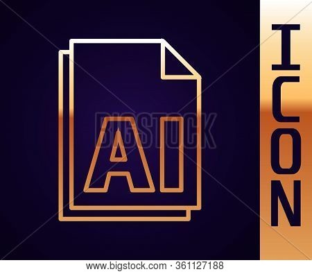 Gold Line Ai File Document. Download Ai Button Icon Isolated On Black Background. Ai File Symbol. Ve