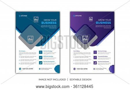 Digital business marketing social media post banner & square flyer, Corporate Business Flyer poster pamphlet brochure cover design layout background, two colors scheme, vector template in A4 size - Vector