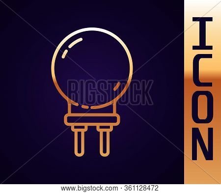 Gold Line Light Emitting Diode Icon Isolated On Black Background. Semiconductor Diode Electrical Com