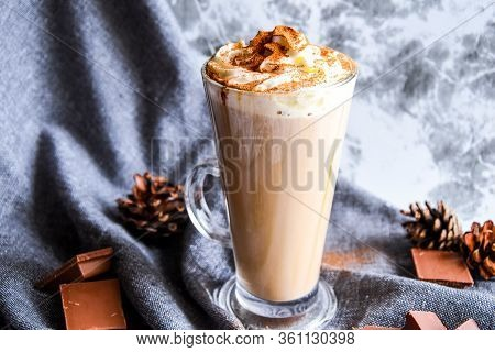 Iced Coffee With Ice And Cream, Chocolate, Milk Chocolate Cocktail Or Cold Whipped Coffee With Milk,