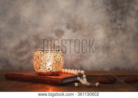On Table Top Image Of Decoration Ramadan Kareem Holiday Background.close Up Rosary & Lighting With H